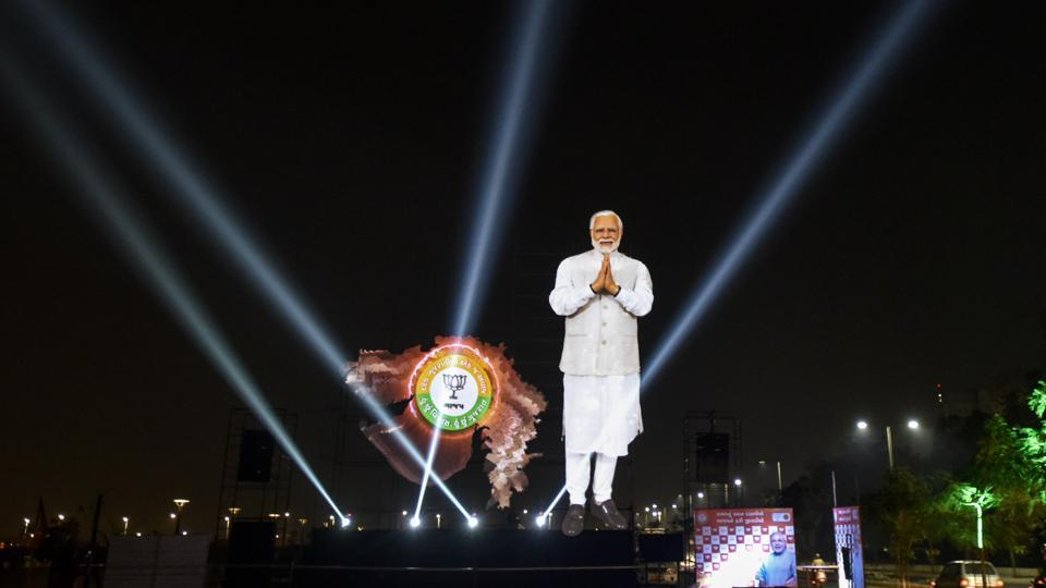 A life-size digital cutout of Prime Minister Narendra Modi was set up at Sabarmati Riverfront in Ahmedabad.