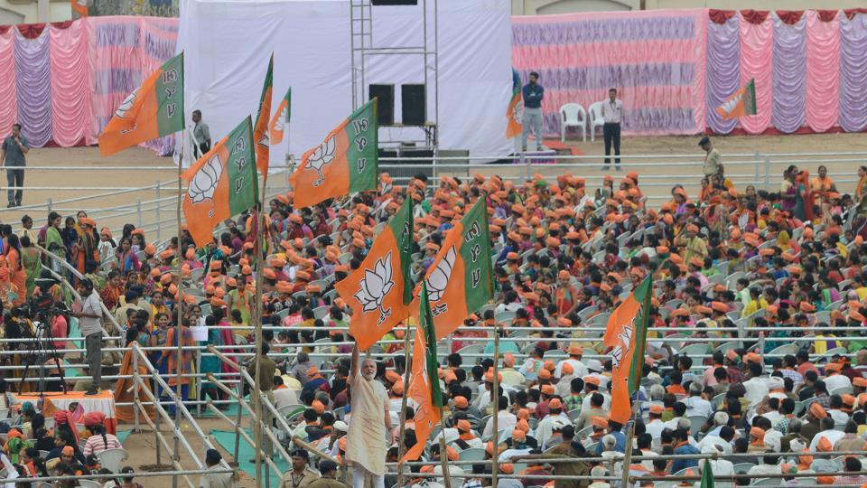 BJP flags at a rally in Surendranagar.