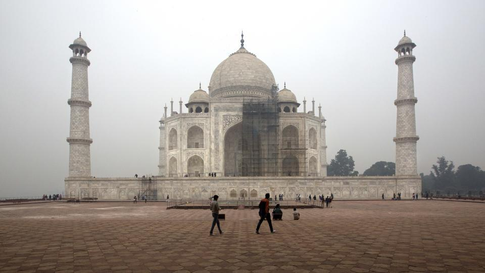 With the first thorough cleaning of the Taj Mahal since its construction in 1648 underway, scaling its majestic but delicate dome is turning out to be an issue for workers. This World Heritage monument in heavily polluted Agra has faced significant discolouration of its once translucent white marble, hauled all the way from Rajasthan. (Manish Swarup / AP)