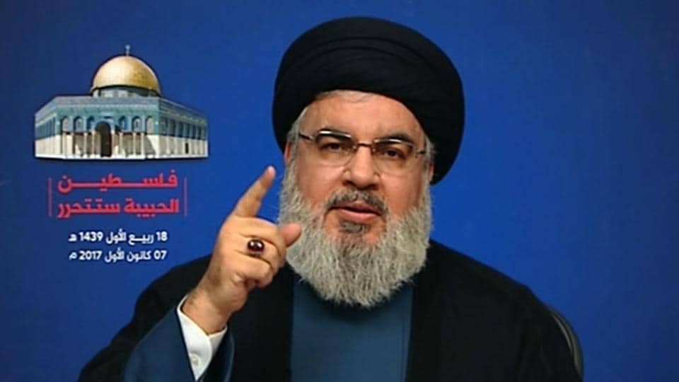 An image grab taken from Hezbollah's al-Manar TV on December 7, 2017 shows Hassan Nasrallah, the head of Lebanon's militant Shiite movement Hezbollah, giving a televised address from an undisclosed location in Lebanon following the US president's recognition of Jerusalem as Israel's capital.