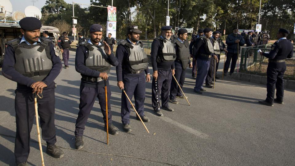 "File photo of Pakistan police officers in Islamabad. The Chinese embassy has warned all ""Chinese-invested organisations and Chinese citizens to increase security awareness""."