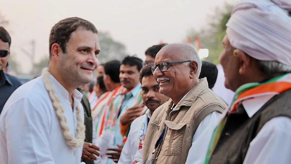 Congress vice president Rahul Gandhi greets party supporters in Limbasi village of Kheda district in Gujarat on Friday to campaign for the Assembly elections.