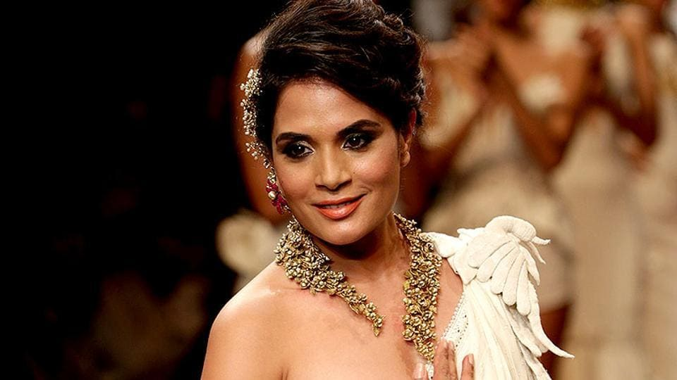 Richa Chadda displays the creation by jewellery designer Anand Shah.
