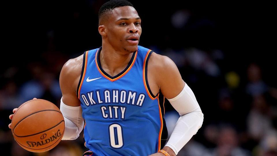 Russell Westbrook's sensational 2016-17 season for the Oklahoma City Thunder saw him break a 55-year record. Against the Denver Nuggets in April, Westbrook chalked up his 42nd triple-double of the campaign, surpassing the mark set by Oscar Robertson in 1961-62. (GETTY IMAGES)