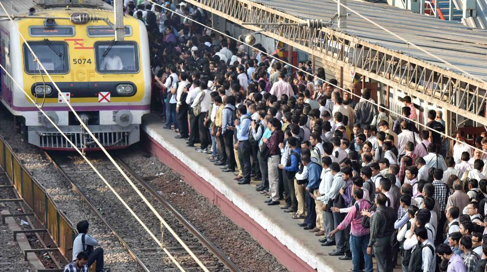 Mumbai, India - Feb. 25, 2016 : Commuters at Borivali on the day of Railway Budget in Mumbai, India, on Thursday, February 25, 2016. (Photo by Pratham Gokhale/ Hindustan Times)
