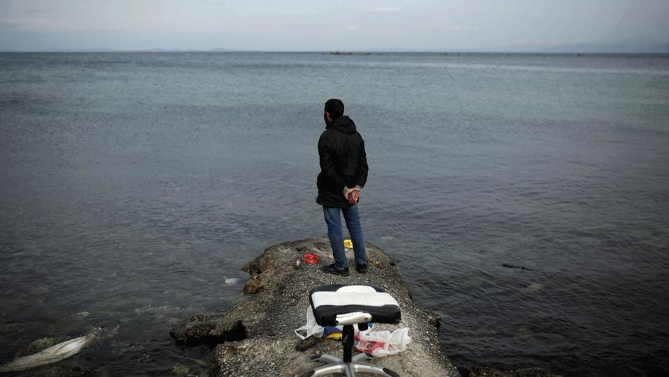 Syrian refugee Muhammad, 42, looks at the sea while fishing on the island of Lesbos, Greece. More than 8,500 asylum-seekers are stuck on Lesbos, where facilities for migrants were only designed to accommodate 3,000. A deal between the European Union and Turkey struck in 2016 stemmed the uncontrolled exodus of nearly a million people across the Aegean Sea.  (Alkis Konstantinidis / REUTERS)
