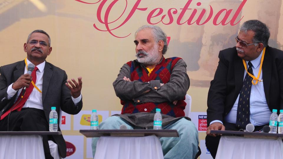 From left: Lt Gen Sanjay Kulkarni, Rahul Bedi and Shiv Kunal Verma during a session on 'Siachen - the ongoing conflict' at the Military Literature Festival in Chandigarh on Saturday.