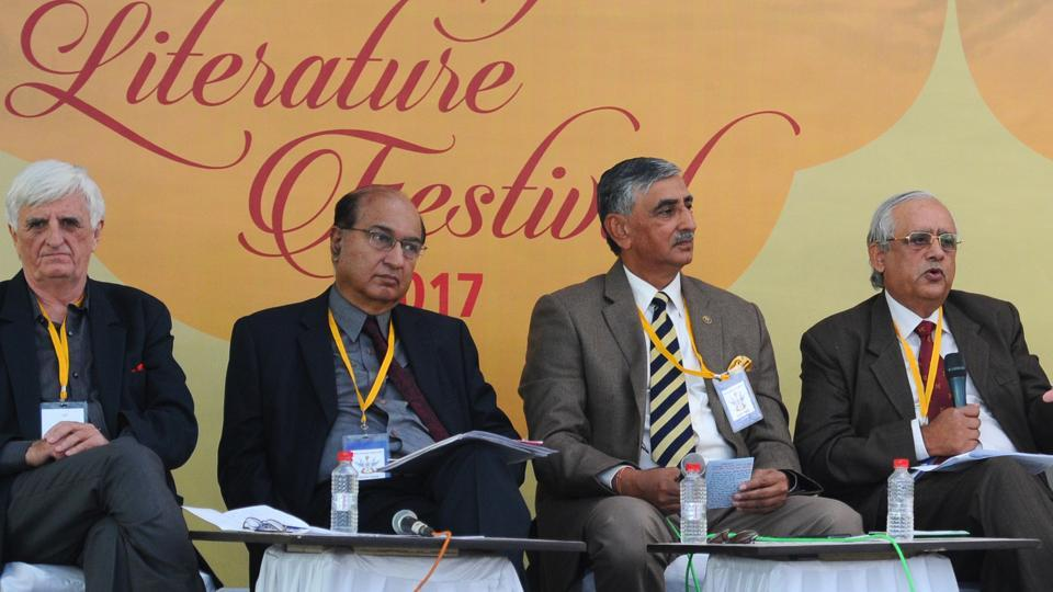 (From left) Author Claude Arpi, former Indian high commission to Pakistan G Parthasarathy Lt Gen Praveen Bakshi and Lt Gen JS Bajwa attending a session during the Military Literature Festival 2017 at Lake club in Chandigarh on Friday.