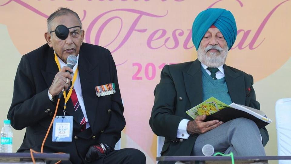 Vir Chakra re cipient Anil Kaul and Lt Gen Depinder Singh during a session on Indian Peace Keeping Force inSri Lanka during the Military Literature Festival in Chandigarh on Friday.