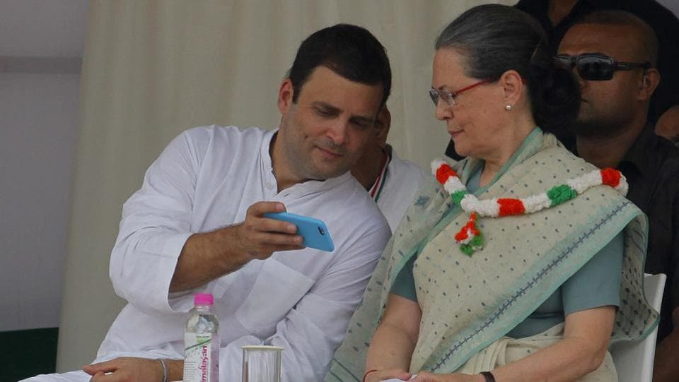 Congress Vice President Rahul Gandhi with Sonia Gandhi  at the Ramlila Maidan in New Delhi. In the past two years, Sonia Gandhi has taken a backseat and the Congress has been gearing up to be led by her son.  (Arvind Yadav / HT PHOTO)