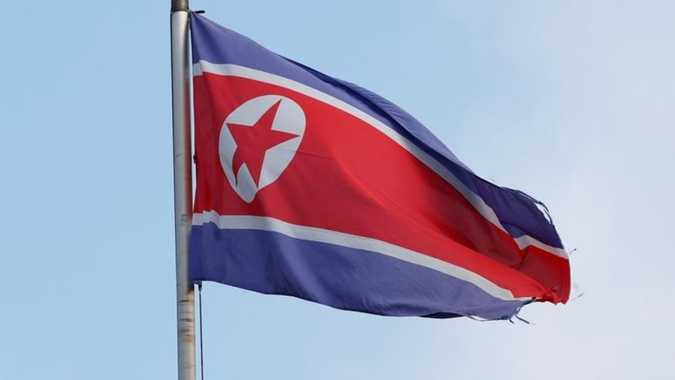 A flag is pictured outside the Permanent Mission of North Korea in Geneva, Switzerland.