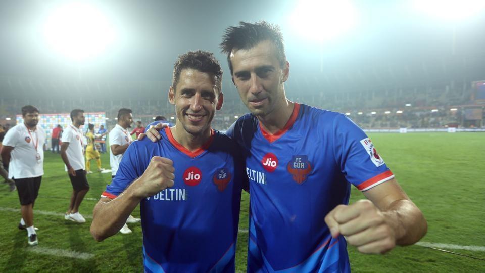 Ferran Corominas (L) and Manuel Lanzarote Bruno starred for FC Goa against Kerala Blasters in the ISL on Saturday.