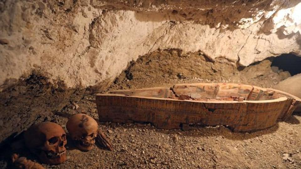 A file photo Skulls and hands are seen next to coffin in the tomb of Amenemhat, a goldsmith from the New Kingdom, at the Draa Abu-el Naga necropolis near the Nile city of Luxor, south of Cairo, Egypt on September 9.