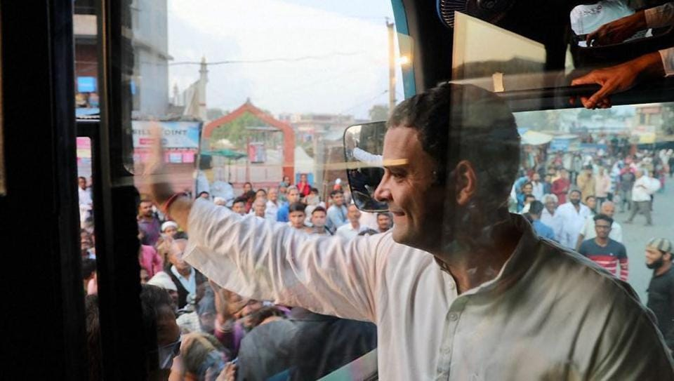 Congress vice-president Rahul Gandhi waves to his supporters at Kheda district in Gujarat during election campaign.