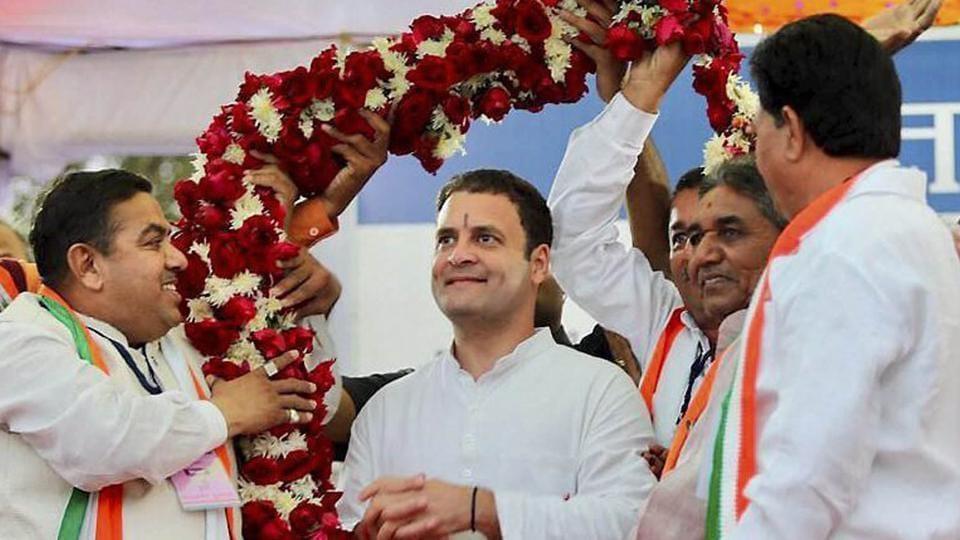 Congress vice-president Rahul Gandhi being garlanded in Limbasi village of Kheda district in Gujarat on Friday.