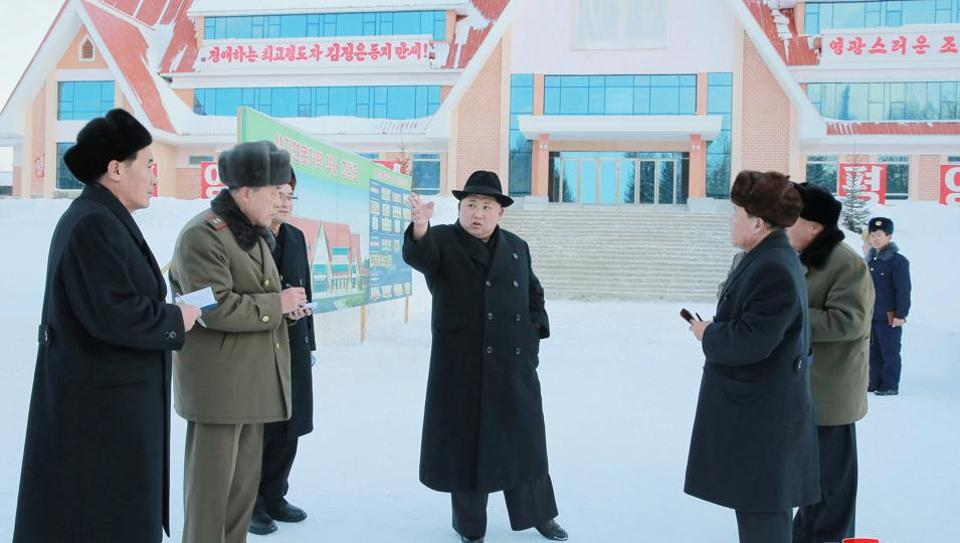 North Korean leader Kim Jong Un gives field guidance to various units in Samjiyon County, in this photo released by North Korea's Korean Central News Agency (KCNA) in Pyongyang December 9, 2017.