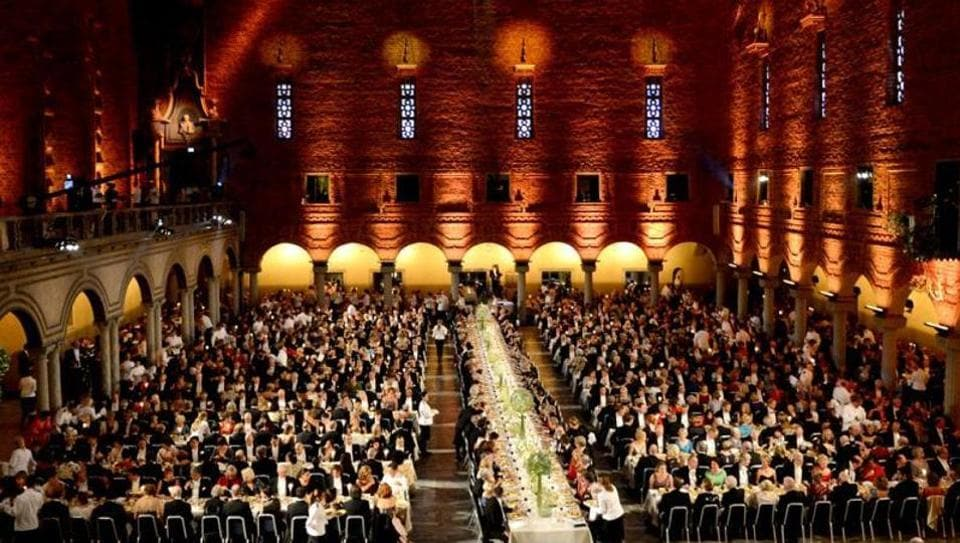 A file photo of an overview of the Nobel banquet.