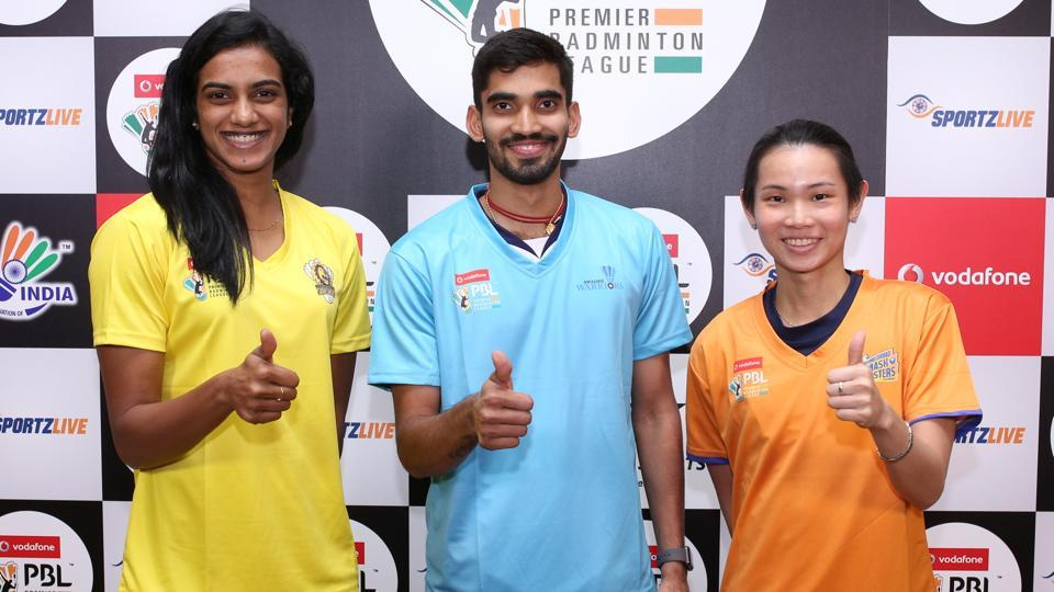 PV Sindhu, Kidambi Srikanth and Women's world No 1 Tai Tzu Ying during a Premier Badminton League (PBL) promotional event in Dubai on Sunday.