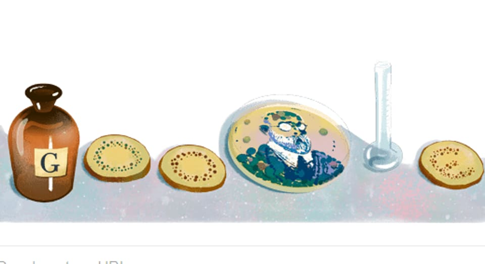 Google doodle of German physician and microbiologist Robert Koch.