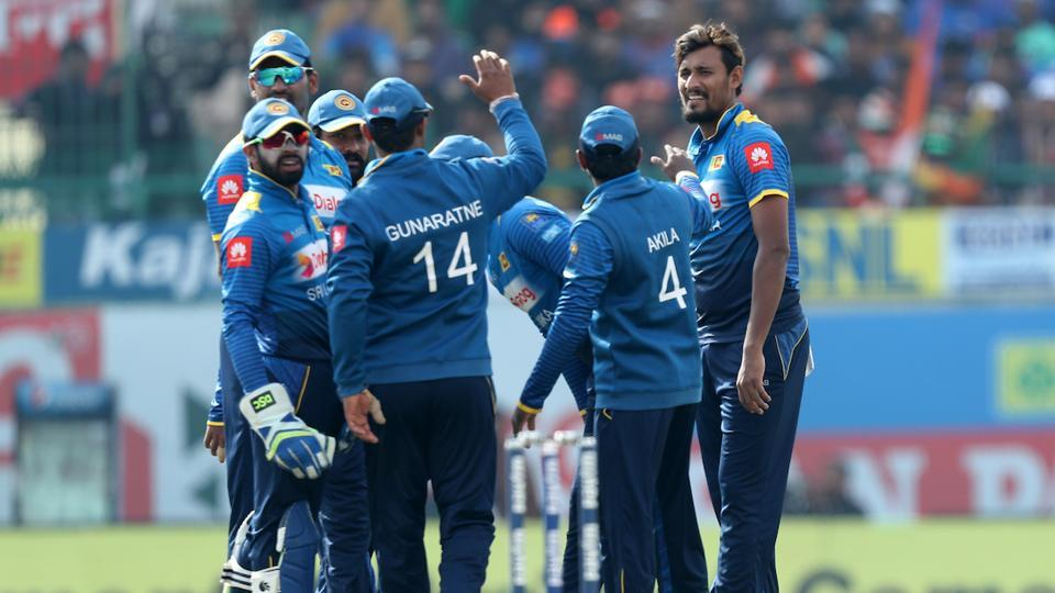 Suranga Lakmal's (R) great spell helped Sri Lanka crush India by seven wickets in the first ODI in Dharamsala.  (BCCI )