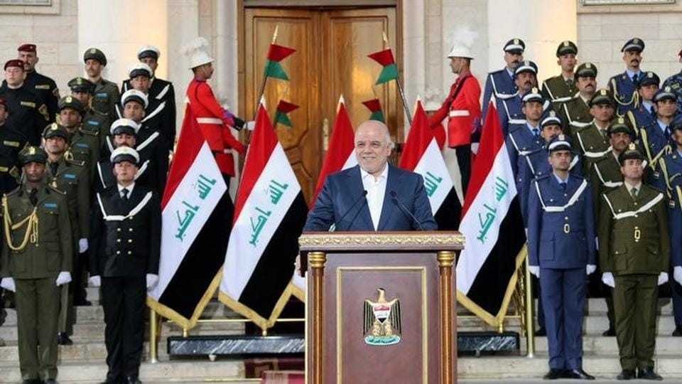 Iraqi Prime Minister Haider al-Abadi delivers a speech in Baghdad, Iraq, December 9, 2017.
