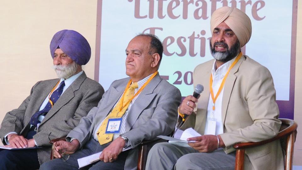 (From right) Punjab finance minister Manpreet Singh Badal, Air Marshal Bharat Kumar (retd), Lt Gen NS Brar (retd) and Brig Sukhjit Singh (retd), during the session on the war of 1965 at the Military Literature Festival in Chandigarh.