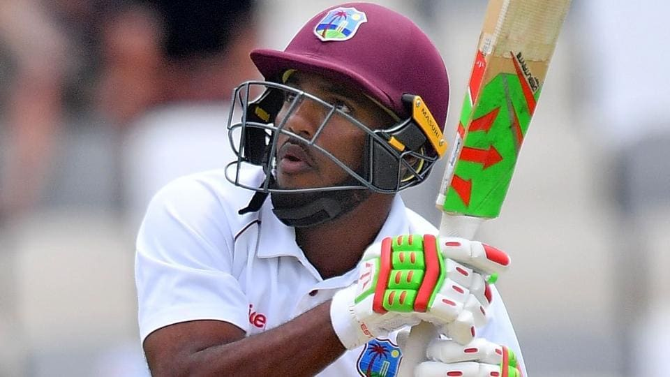 West Indies' Sunil Ambris was dismissed hit-wicket for the second time against New Zealand on Sunday.