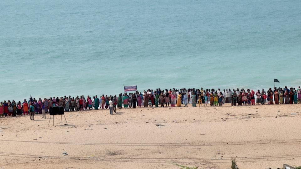 Family members of various fishermen, who are still missing following cyclone Ockhi, stage a protest near the sea shore seeking central and state government agencies to step up the search operations in Kanyakumari on December 10.