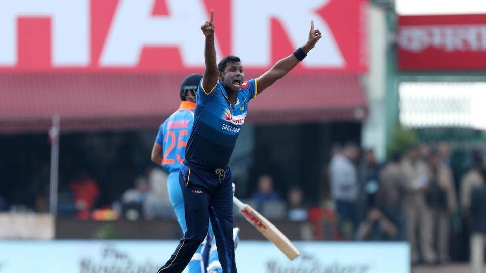Angelo Mathews, who has been reduced by injury to an occasional bowler, dismissed Shikhar Dhawan LBW in the second over.  (BCCI )