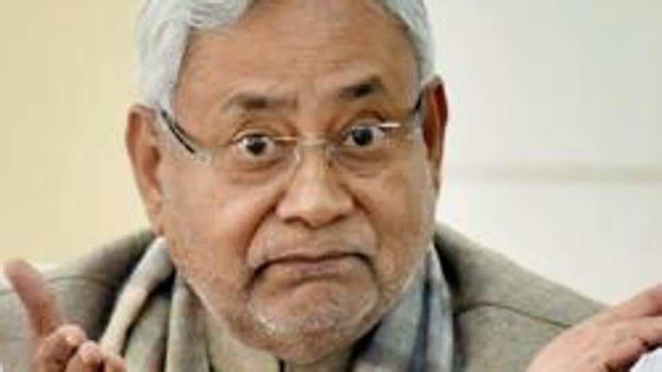 Bihar chief minister Nitish Kumar addresses a press conference at his official residence in Patna.