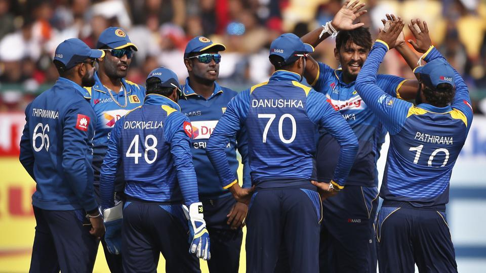 Sri Lanka's Suranga Lakmal, second right, wreaked havoc in the Indian batting line-up to guide them to a seven-wicket win.