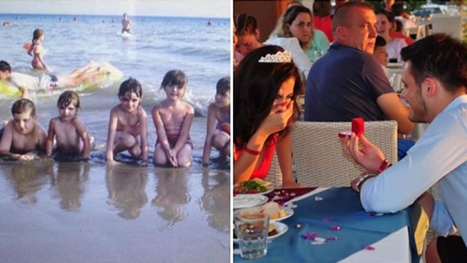 Man spots himself in the background of his fiancee's family photo