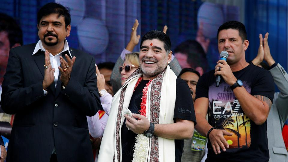 Diego Maradona was all smiles at the charity event.  (REUTERS)
