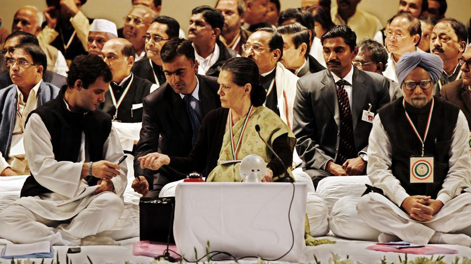 Rahul Gandhi, Manmohan Singh and  Sonia Gandhi during the AICC meeting at Birla Auditorium, in Jaipur, Rajasthan on January 20, 2013. Rahul refused any cabinet position under both terms of the Manmohan Singh-led UPA government. In 2013, he was appointed as the Congress Vice-President at this party conclave in Jaipur. (Ajay Aggarwal / HT Photo)