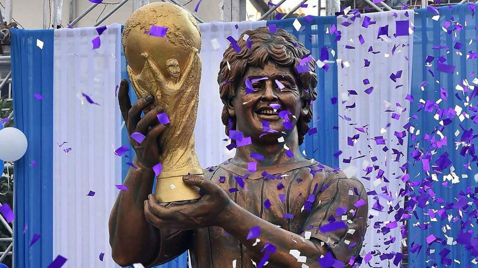 A statue of Diego Maradona was unveiled at Kolkata but its resemblance to the legend wasn't exactly uncanny.  (PTI)