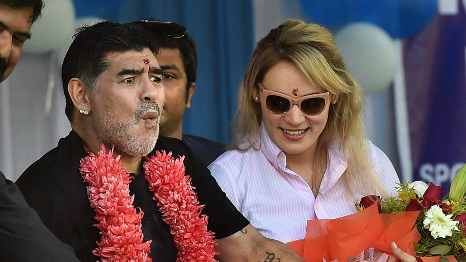 Maradona, who was joined by his wife, clearly enjoyed the experience.  (PTI)