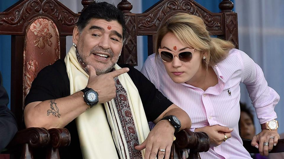 Former Argentine footballer Diego Maradona with his wife after being felicitated at a programme in Kolkata on Monday. (PTI)