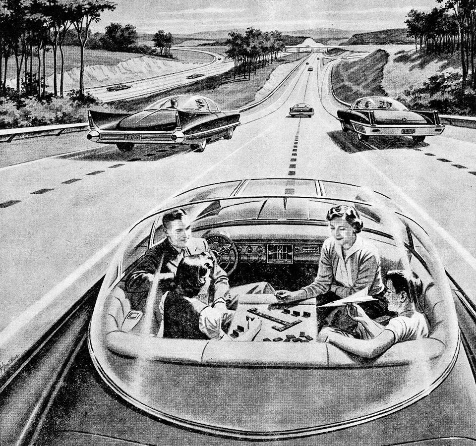 An illustration from 1957 of a family of four playing a board game, while their futuristic electric car automatically drives itself.