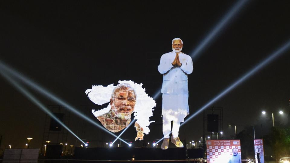 A life-size digital cutout of Prime Minister Narendra Modi set up at Sabarmati riverfront in Ahmedabad, on December 8, 2017. Modi is campaigning for the BJP as the state goes to polls for the assembly election.