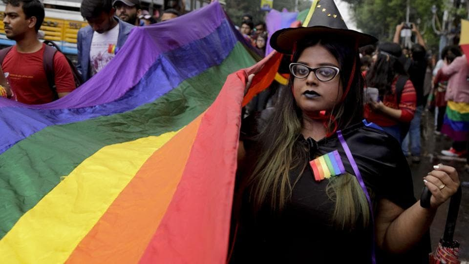 LGBTQ rights activists participate in the Rainbow Pride Walk in Kolkata. The day of the march coincided with the International Human Rights Day, celebrated on December 10 every year.  (Bikas Das / AP)