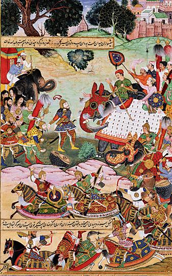 A miniature painting from the first version of the Akbarnama written by Abul Fazl. Anant was the colourist. The painting depicts Abdullah Khan, an Uzbek governor of Malwa, giving goods to Akbar.