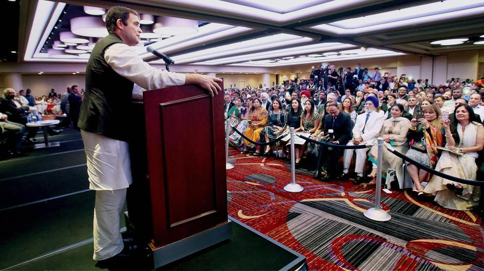 Rahul Gandhi addressing a meeting with NRIs at Times Square in New York City on September 21, 2017. His speech at University of California, Berkeley, earlier this year garnered praise for his frankness in answering questions on dynasty in politics and the BJP's economic policies. (PTI)