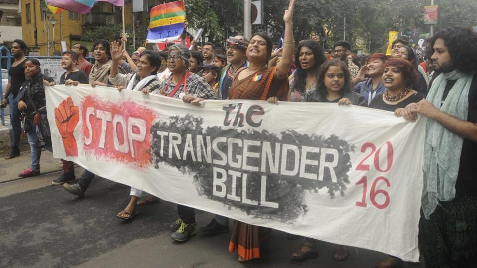 Social activists, participants and members of the LGBTQ community shout slogans in protest of the transgender laws during the pride march in Kolkata. Some of the demands included renouncing of Section 377, implementation of NALSA judgment which recognises transgender as a third gender and revisions to the Transgender Bill of 2016. (Samir Jana / HT PHOTO)