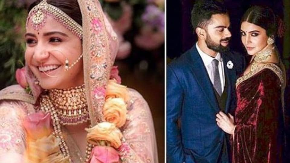 A collage of pictures featuring Virat Kohli and Anushka Sharma.