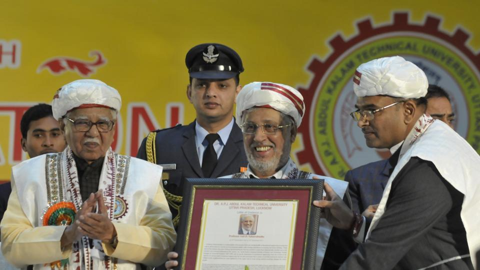 Prof Anil D Sahasrabudhe, chairman of All India Council for Technical Education (AICTE) was conferred the honor of D Sc (Honoris Causa) at the 15th convocation of Dr APJ Abdul Kalam Technical University on Tuesday. Governor Ram Naik (left) and AKTU VC Vinay Pathak (right) are also seen in the picture.