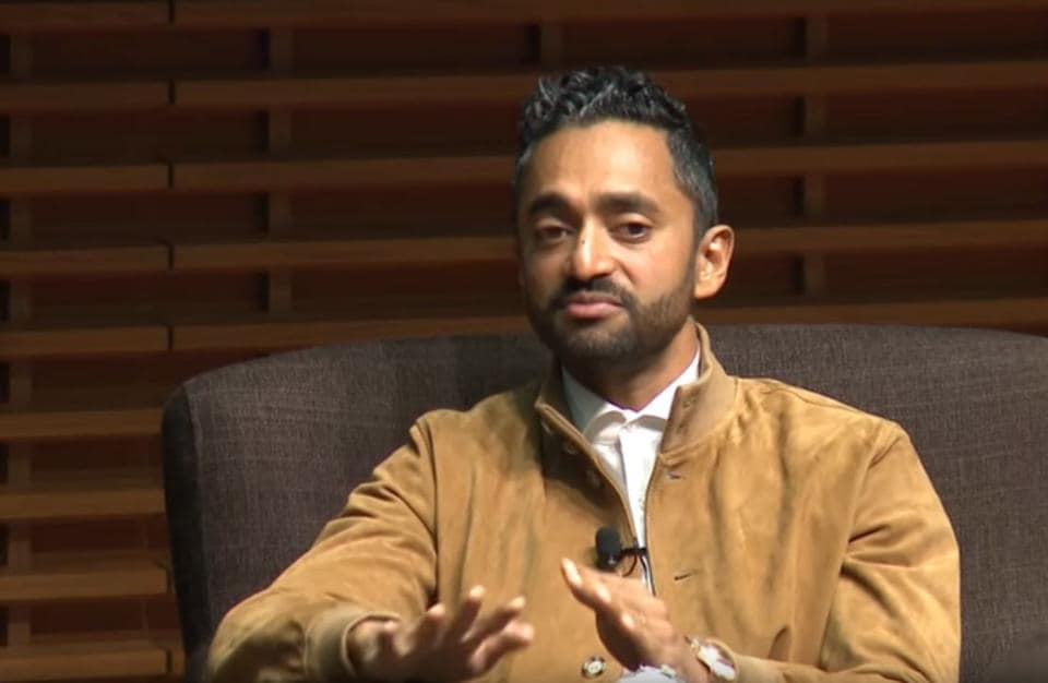 Chamath Palihapitiya speaking at the Stanford business school.