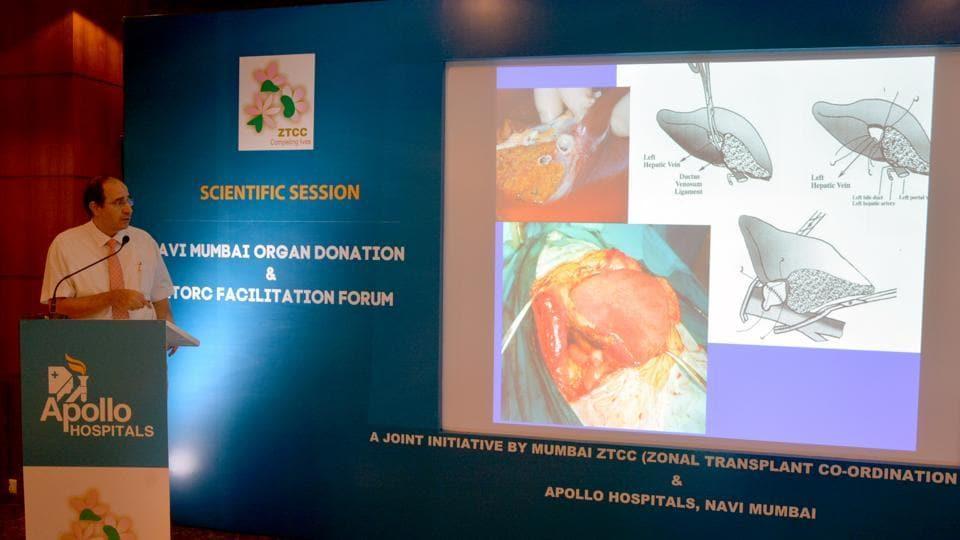 Professor  Darius F Mirza, head of  liver transplantation, Apollo Hospitals, addresses the medical fraternity in Navi Mumbai on organ donation.