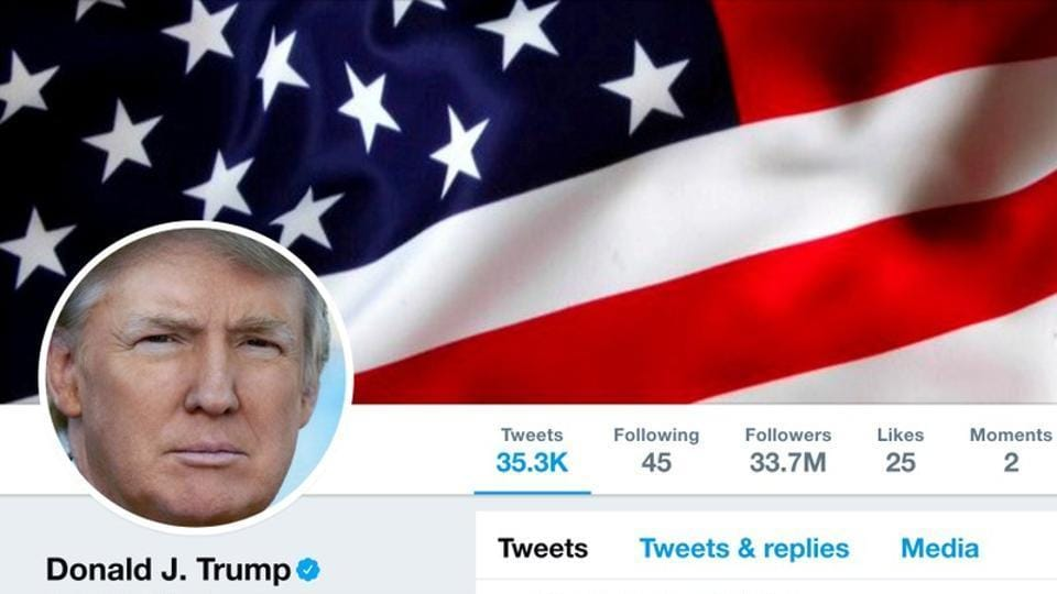 The masthead of US President Donald Trump's @realDonaldTrump Twitter account is seen on July 11.