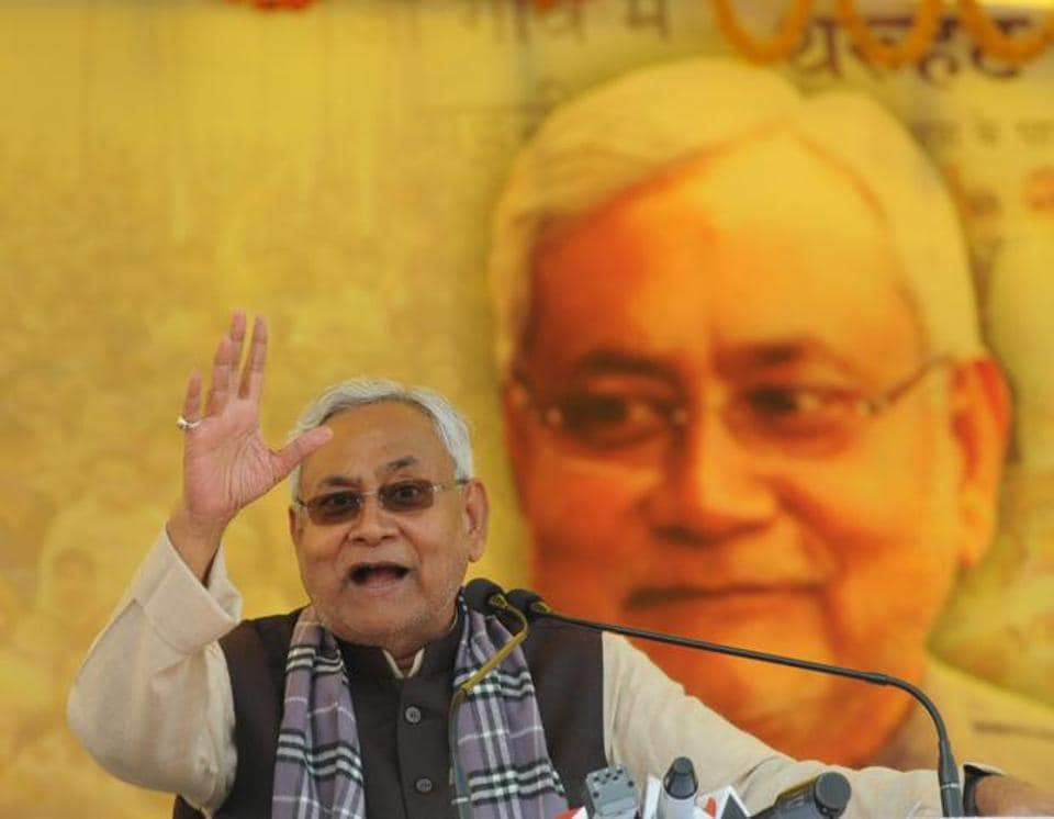 Bihar chief minister Nitish Kumar addressing a public rally after launching several development projects during his 'Vikas ki Samiksha Yatra' at Patilar in West Champaran district of Bihar on Tuesday.