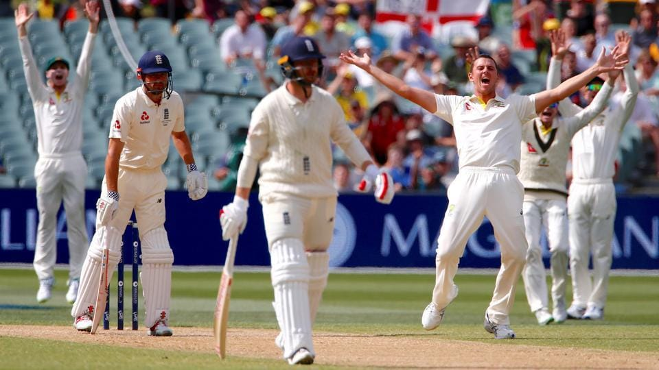Australia's Josh Hazlewood appeals unsuccessfully for an LBW against England's Alastair Cook during the fourth day of the second Ashes cricket Test in Adelaide on December 5. The third Test starts in Perth on December 14.
